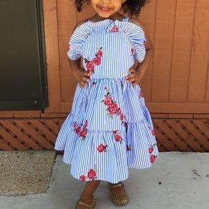 Rose printed Blue Striped Dress w/petticoat
